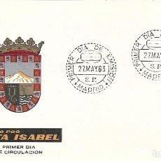 Sellos: ESCUDO DE FERNANDO POO 1963 MATASELLOS MADRID (EDIFIL 1485) EN SOBRE PRIMER DIA DE ARRONIZ. MPM.. Lote 295463453
