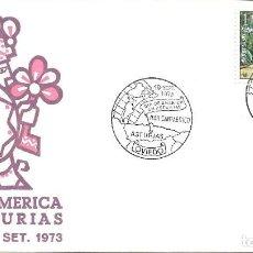 Sellos: DIA DE AMERICA EN ASTURIAS, OVIEDO 1973. MATASELLOS EN SOBRE DE ALFIL. Lote 295473928