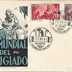 Sellos: RELIGION PINTURA BAYEU AÑO MUNDIAL DEL REFUGIADO 1961 (EDIFIL 1326/27) EN SOBRE PRIMER DIA DE DP.. Lote 295826023