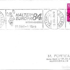 Sellos: DEPORTES HALTEROFILIA HALTER EUROPA 84, VITORIA-GASTEIZ (ALAVA) 1984. MATASELLOS RODILLO EN TARJETA.. Lote 296834463