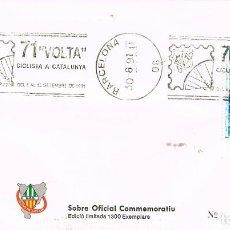 Sellos: AÑO 1991, BARCELONA, VUELTA CICLISTA A CATALUÑA, LA VOLTA, RODILLO EN SOBRE ILUSTRADO, RARO ASÍ. Lote 296864558