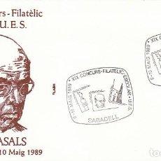 Sellos: AÑO 1989, SABADELL, PAU CASALL, SOBRE DE FLASH, MUSICA. Lote 296868378