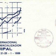 Sellos: AÑO 1989, EQUIPAL, SALON INTERNACIONAL PARA LA COMERCIALIZACION DE BARCELONA, SOBRE DE ALFIL. Lote 296869448