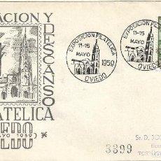 Sellos: OBRA SINDICAL EDUC Y DESCANSO EXPOSICION, OVIEDO (ASTURIAS) 1959. MATASELLOS SOBRE CIRCULADO EG RARO. Lote 296873113