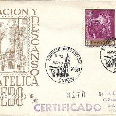 Sellos: OBRA SINDICAL EDUC Y DESCANSO EXPOSICION, OVIEDO (ASTURIAS) 1959. RARO MATASELLOS SOBRE CIRCULADO DP. Lote 296873528