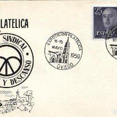 Sellos: OBRA SINDICAL EDUC Y DESCANSO EXPOSICION OVIEDO (ASTURIAS) 1959. MATASELLOS SOBRE SIN CIRCULAR ALFIL. Lote 296874083