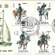 Sellos: UNIFORMES MILITARES VIII GRUPO 1977 (EDIFIL 2423/27) SPD ALFIL CIUDADELA BALEARES CAMPEONATO ESPAÑA. Lote 296877908