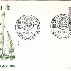 Sellos: BARCOS CAMPEONATO ESPAÑA CLASE SNIPE, CIUDADELA MENORCA (BALEARES) 1977. RARO MATASELLOS SOBRE ALFIL. Lote 296878253