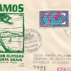 Sellos: BARCOS COSTA BRAVA V EXPOSICION, PALAMOS (GERONA) 1963. MATASELLOS EN SOBRE CIRCULADO DE DP RARO ASI. Lote 296886143