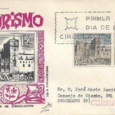 Sellos: MONASTERIO DE GUADALUPE CACERES SERIE TURISTICA 1966 (EDIFIL 1732 DOS SELLOS) SPD CIRCULADO MS. RARO. Lote 297097633