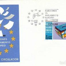 Sellos: EDIFIL 3015, ELECCIONES AL PARLAMENTO EUROPEO, PRIMER DIA DE 12-6-1989. Lote 297280988