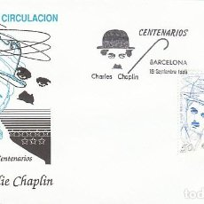 Sellos: EDIFIL 3014, CINE, CENTENARIO DE CHARLES CHAPLIN, CHARLOT, PRIMER DIA DE 19-9-1989 SOBRE DEL SFC. Lote 297282533