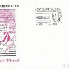 Sellos: EDIFIL 3013, CENTENARIO DE GABRIELA MISTRAL, PRIMER DIA DE 1-6-1989 SOBRE DEL SFC. Lote 297282813