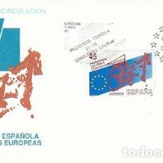 Sellos: EDIFIL 3010, PRESIDENCIA ESPAÑOLA EN LAS COMUNIDADES EUROPEAS, PRIMER DIA DE 9-5-1989 SFC. Lote 297334263
