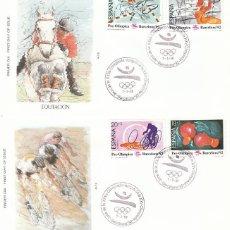 Sellos: EDIFIL Nº 2994/7, JUEGOS OLIMPICOS BARCELONA, II SERIE PREOLIMPICA, PRIMER DIA ESPECIAL 7-3-1989 SFC. Lote 297355778
