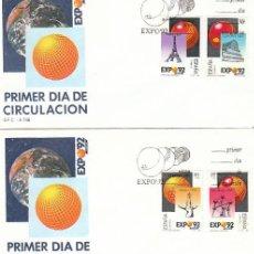 Sellos: EDIFIL 2990/3, EXPOSICION UNIVERSAL SEVILLA EXPO'92, PRIMER DIA DE 9-2-1989 SFC. Lote 297359438