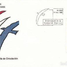 Sellos: EDIFIL 2988. BICENTENARIO DE LA REVOLUCION FRANCESA, PRIMER DIA DE 24-1-1989 SFC. Lote 297363318