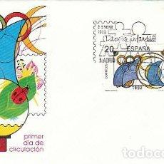 Sellos: EDIFIL 2986/7, DISEÑO INFANTIL, JUEGOS OLIMPICOS BARCELONA, PRIMER DIA DE 3-1-1989 SFC. Lote 297364308