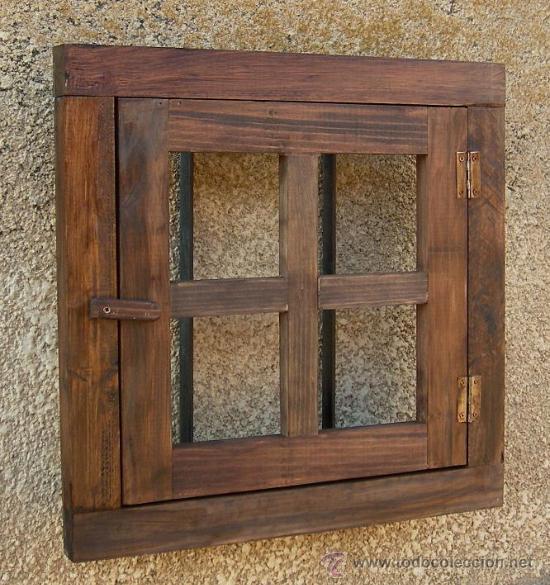 Ventana rustica madera con rejas forjada comprar for Ventanas de madera rusticas precio