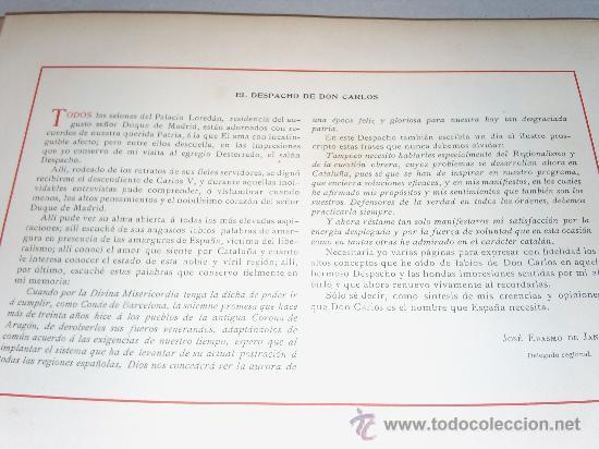 Militaria: EL DESPACHO de DON CARLOS ,Sintesis de Jose Erasmo de Janer,Delegado Regional. - Foto 18 - 19880132
