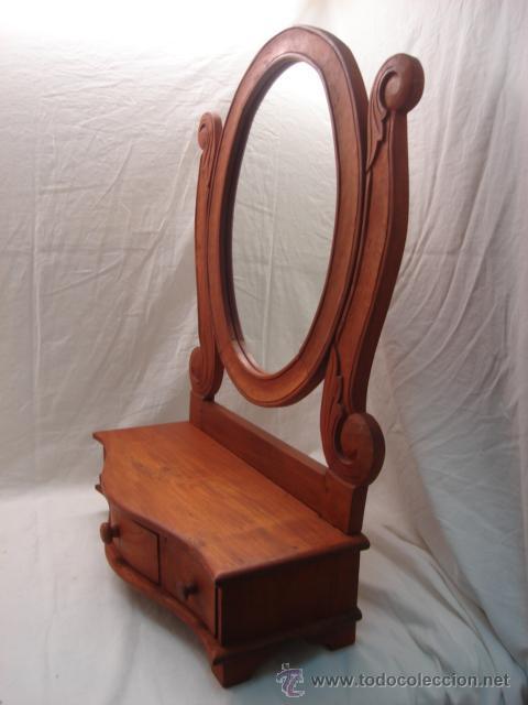 Precioso mueble tocador con espejo ovalado y tr comprar for Espejo ovalado madera