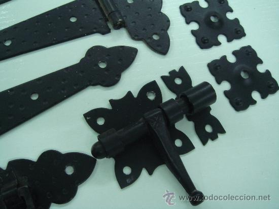 Bisagra rustica de forja lote de tres con cerro comprar for Como hacer puerta rustica