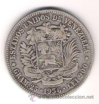 Monedas antiguas de América: ESTADOS UNIDOS DE VENEZUELA UN FUERTE 1936 - Foto 2 - 26039770