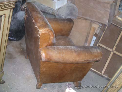 Sillon de cuero con patas de madera para resta comprar - Sillones antiguos para restaurar ...