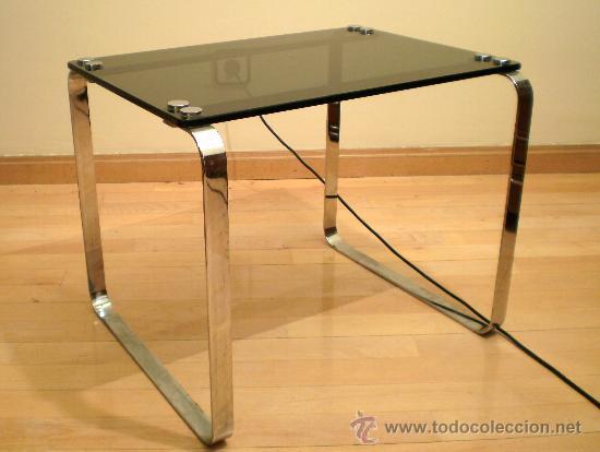 Mesa baja cristal y acero a os 70 comprar muebles vintage en todocoleccion 29518243 - Mesa baja cristal ...