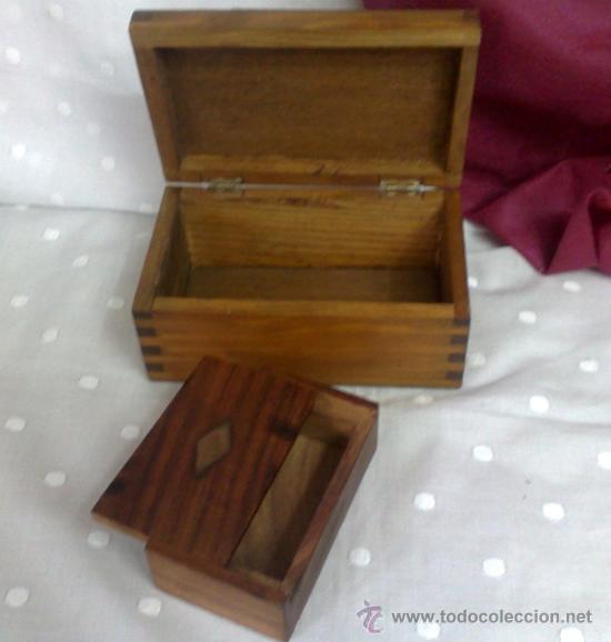 Dos peque as cajas en madera comprar cajas antiguas en for Cajas de madera pequenas