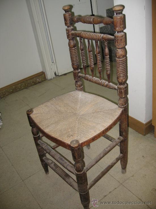 Antigua silla de madera torneada asiento enea comprar - Sillas de madera antiguas ...