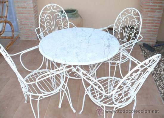 Conjunto Sillas Mesa Jardin Forja Anos 60 Comprar Muebles Vintage - Sillas-de-forja-para-jardin