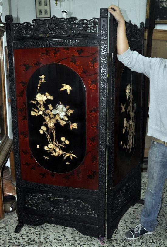 Precioso biombo chino en madera tallada y lacad comprar muebles auxiliares antiguos en - Biombos chinos antiguos ...
