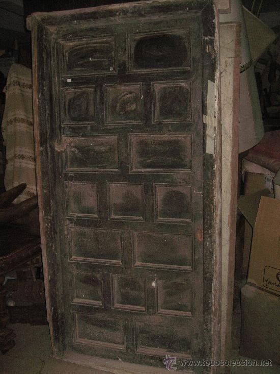 puerta antigua madera con cuarterones y marco - Comprar Armarios ...