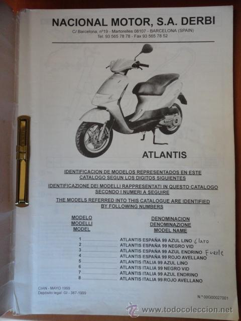 manual catalogo de piezas de recambio de moto d comprar cat logos rh todocoleccion net Derbi Atlantis 50 Review manual de instrucciones derbi atlantis 50 2t