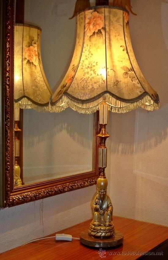 Antigua l mpara de mesa pie buda tulipa tel comprar - Venta de lamparas antiguas ...