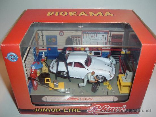 Diorama taller 1 43 de schuco con coche pors comprar - Accesorios para garajes ...