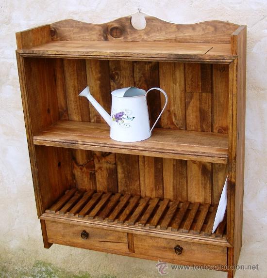 Platero de madera maciza rustico mueble de 80 comprar for Mueble platero