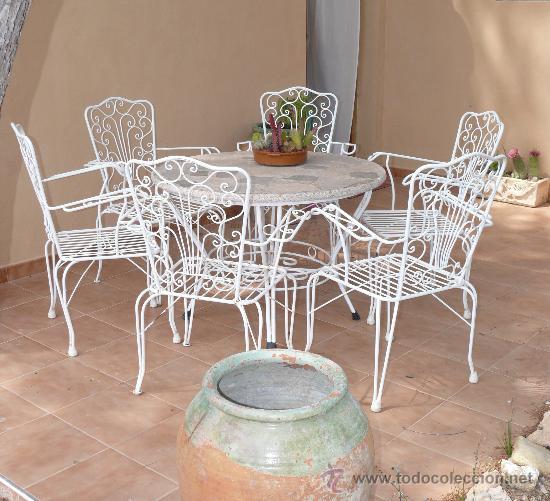 Gran mesa jardin antigua vintage forja hierro b comprar for Sillas jardin blancas