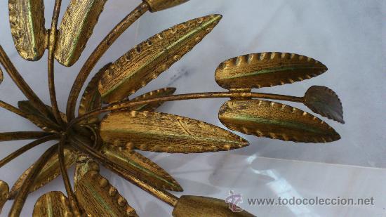 Lampara vintage de racimos de hojas doradas co comprar for Fisura lamparas