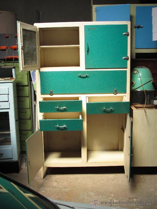 Alacena armario cocina vintage a os 50 a os 60 comprar muebles vintage en todocoleccion - Muebles de cocina retro ...