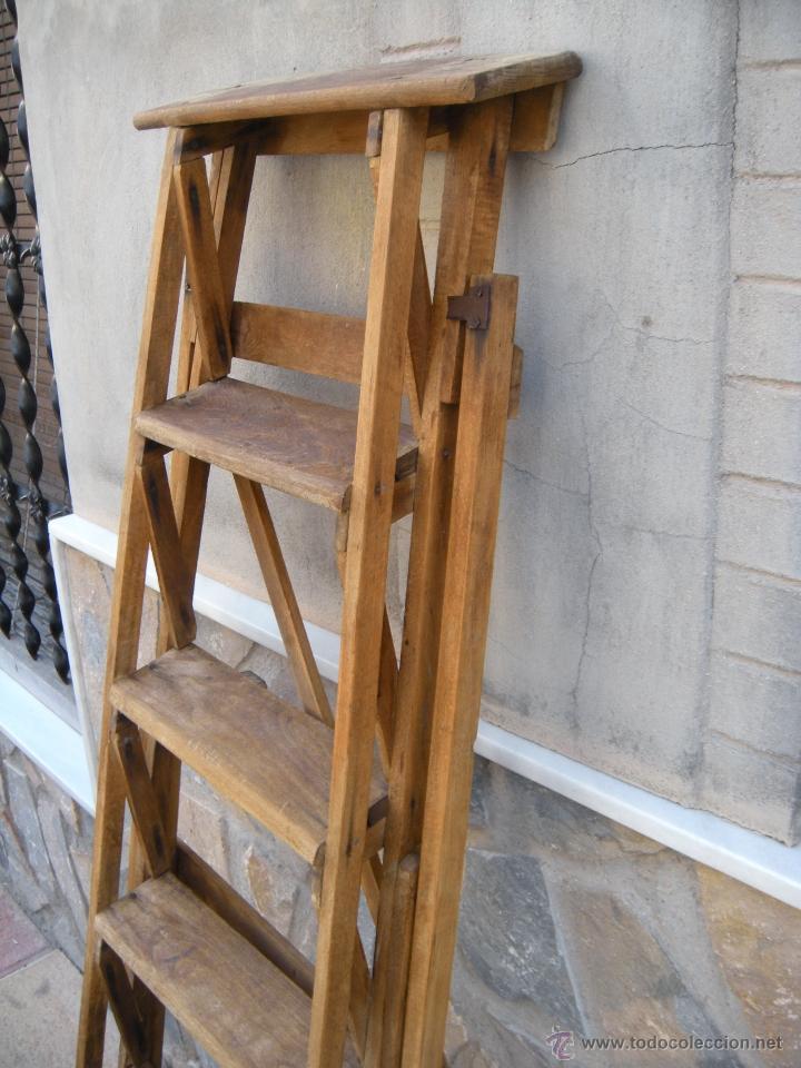 Antigua escalera plegable en madera biblioteca comprar - Escalera de biblioteca ...