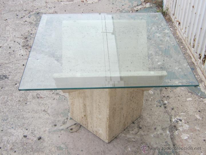Mesa baja con pie de marmol y tablero de crista comprar muebles vintage en todocoleccion - Mesa baja cristal ...