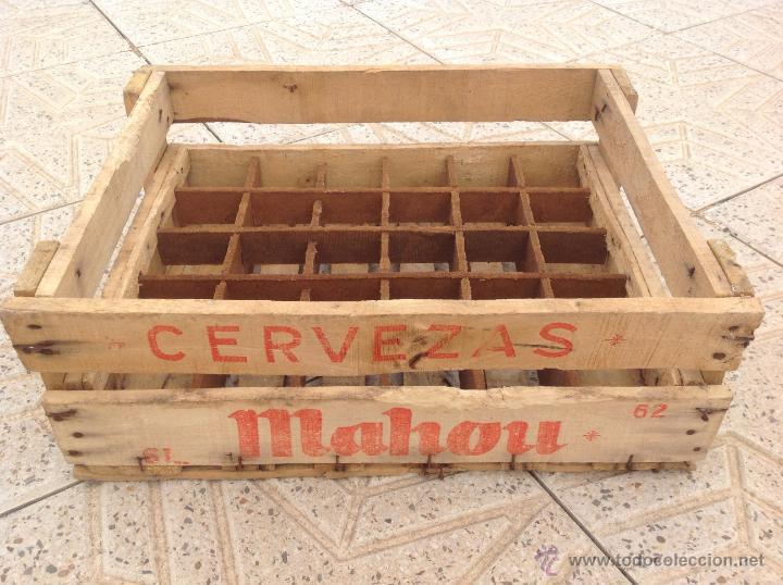 antigua caja de madera de cerveza mahou muy buenas
