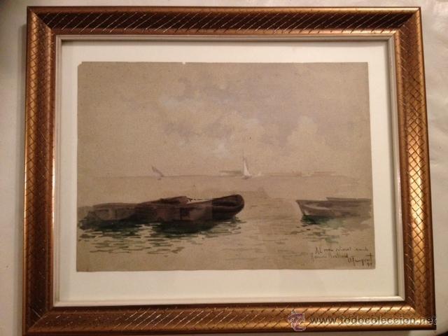 acuarela, marina firmada oleguer junyent, 1899, - Comprar Acuarelas ...