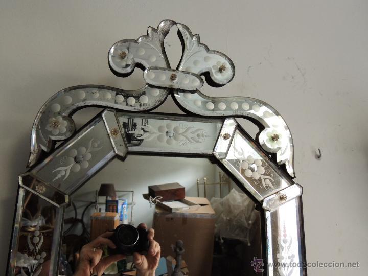 Antiguo espejo veneciano de cristal de murano d comprar - Espejo veneciano antiguo ...