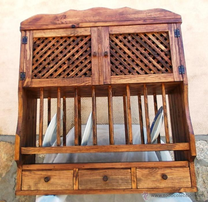 Platero de madera maciza rustico con escurrepla comprar for Mueble platero