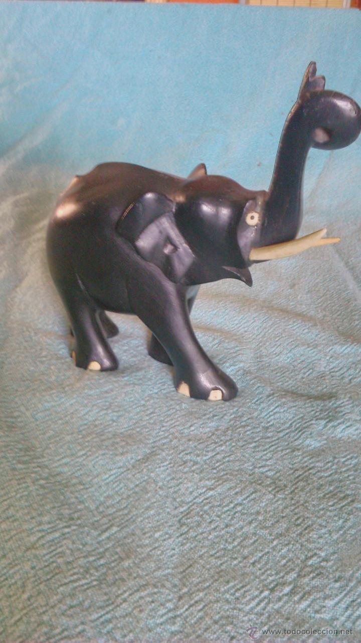 precioso elefante tallado en ébano con colmillo - Comprar Esculturas ...