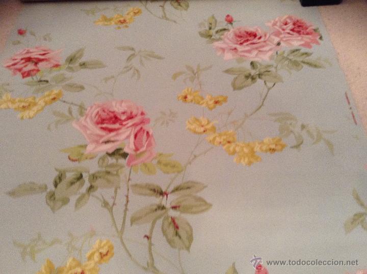 Precioso papel pintado ingl s flores a os 20 30 comprar en todocoleccion 44817738 - Papel pintado anos 60 ...