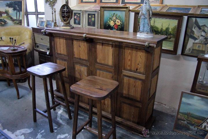 Barra de bar de madera estilo r stico con tab comprar for Fotos de barras de bar de madera
